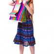 Happy fashion little redhead girl with shopping bags. — Stock Photo #20380853