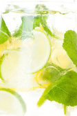 Citrus lemonade in pitcher , closeup — Stock Photo