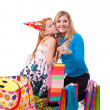 Picture of mother and daughter with gifts - Stock Photo