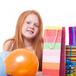 Happy party redhead girl with balloons and gift box — Stock Photo #21000515