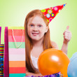 Happy party redhead  girl with balloons and gift box  — Stock Photo #21000525