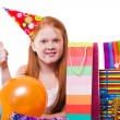 Stock Photo: Happy party redhead girl with balloons and gift box