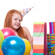 Happy party redhead girl with balloons and gift box — Stock Photo #21000599