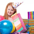 Happy party redhead girl with balloons and gift box — Stock Photo #21000621