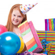 Happy party redhead  girl with balloons and gift box - Stock Photo