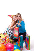 Picture of mother and daughter with gifts — Stock Photo