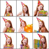 Collage of pictures of happy little girl with gift box over white background — Stock Photo