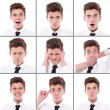 Many different boy expressions  — Stockfoto