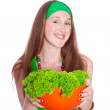 Stock Photo: Smiling woman holding healthy salad meal, over white