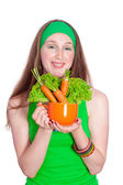 Smiling woman holding healthy salad meal, over white — Stock Photo