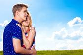 Happy embracing couple  — Zdjęcie stockowe