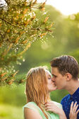 Young couple  kiss — Stock Photo