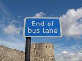 End of bus lane — Stockfoto