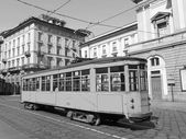 Vintage tram, Milan — Stock Photo