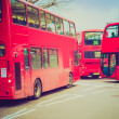 Retro look Red Bus in London — Stock Photo