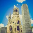 Retro look Ruins of bombed church, Berlin — Stock Photo