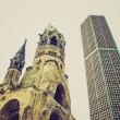 Retro look Bombed church, Berlin — Stock Photo