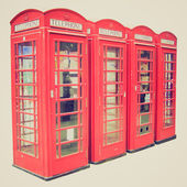 Vintage look London telephone box — Stok fotoğraf