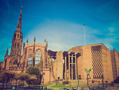 Retro look Coventry Cathedral — Stock Photo