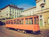 Retro görünüm vintage tramvay, milan — Stok fotoğraf