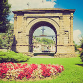 Retro look Arch of August Aosta — Stok fotoğraf