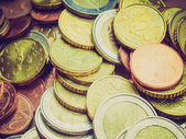 Retro look Euro coins — Foto Stock