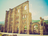 Retro look Roman Theatre Aosta — Stock Photo