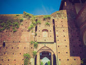 Retro-look castello sforzesco, mailand — Stockfoto