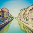 Retro look Naviglio Grande, Milan — Stock Photo