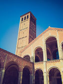 Retro look Sant Ambrogio church, Milan — Foto de Stock