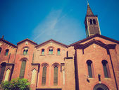 Retro look Sant Eustorgio church, Milan — Stock Photo
