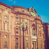 Rétro regarder palazzo carignano turin — Photo
