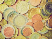 Retro look Euro coins — Stockfoto