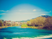 Retro look River Po Turin — Stock Photo