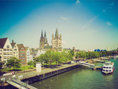Retro look Koeln panorama — Stock Photo