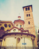 Retro look Santa Maria and Satiro church, Milan — Stock Photo