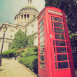 Stock Photo: Vintage look London telephone box