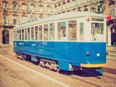 Retro look Old tram in Turin — Stock Photo