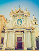 Retro look Santa Cristina and San Carlo church — Stock Photo