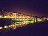 Retro look River Po, Turin — Stock Photo