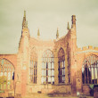 Stock Photo: Retro look Coventry Cathedral ruins