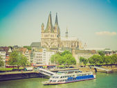 Retro look Koeln panorama — Stockfoto