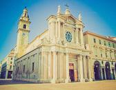 Retro titta santa cristina och san carlo kyrka — Stockfoto