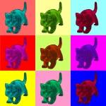 Pop art style illustration of a cat — Stock Photo