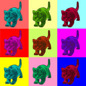 Pop art style illustration of a cat — Stock Photo