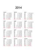 Kalender för år 2014 — Stockfoto
