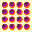 ストック写真: Psychedelic sixties background with multi coloured circles