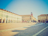 Retro görünüm piazza san carlo, turin — Stok fotoğraf