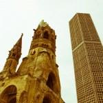 Retro looking Bombed church, Berlin — Stock Photo