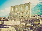 Retro look Roman Theatre Aosta — Stock Photo